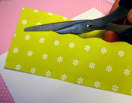 Hanging Baubles Greetings Card - cut into two pieces, one wider than the other, with a wavy edge