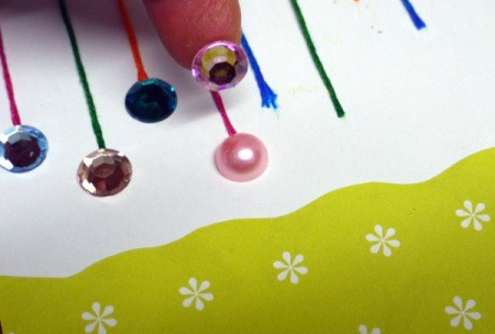 Hanging Baubles Greetings Card - glue a gem at the bottom end and trim as needed