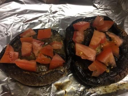 adding tomatoes to Portobello Mushroom