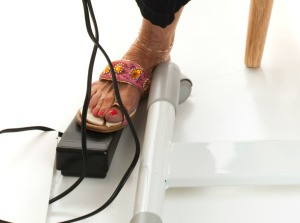 A sewing machine foot pedal.