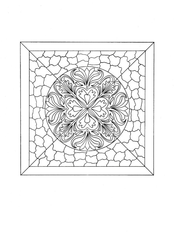 mosaic tile mandala adult coloring page black and white drawing of the mosaic