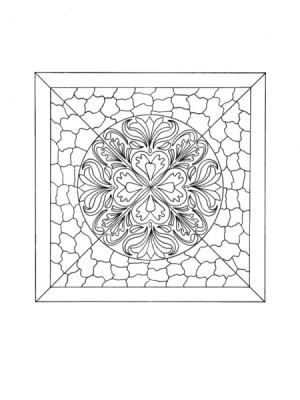 Mosaic Tile Mandala Adult - Coloring Page - black and white drawing of the mosaic