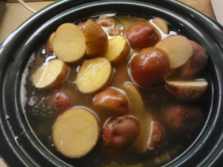 adding New Potatoes to crockpot