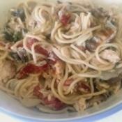 Simple Salmon Sun-dried Tomato Pasta in bowl