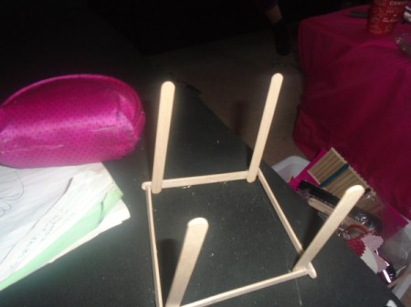 Popsicle Stick Gazebo and Bench - glue 4 sticks upright perpendicular to the base in the corners