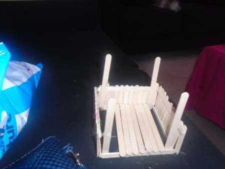 Popsicle Stick Gazebo and Bench - making the floor