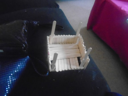 Popsicle Stick Gazebo and Bench - add a layer of coffee stirrers over the Popsicle stick floor