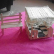 Popsicle Stick Gazebo and Bench - finished bench and gazebo