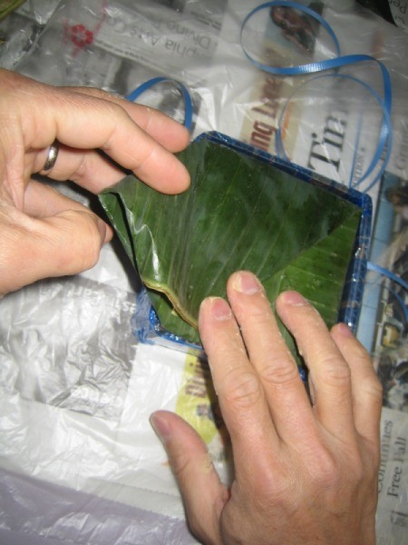 folding banana leaf