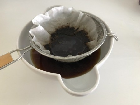Cold Brewed Coffee in strainer