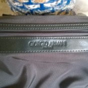 A Giorgio Armani handbag, found in a thrift store.