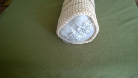 """Crocheted """"Timber"""" Neck Pillow Pattern - stuff with rolled bag of batting"""