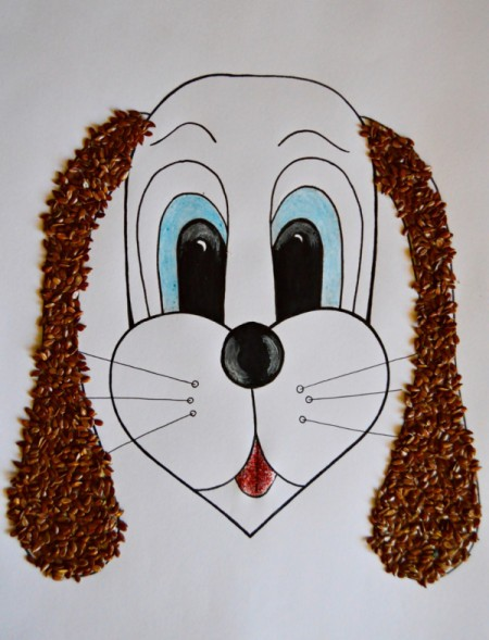Kids' Artwork - Sweet Puppy Mosaic  - cover the ears with glued on linseeds