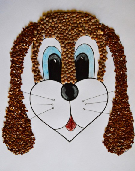 Kids' Artwork - Sweet Puppy Mosaic - cover the top part of the face with lentils