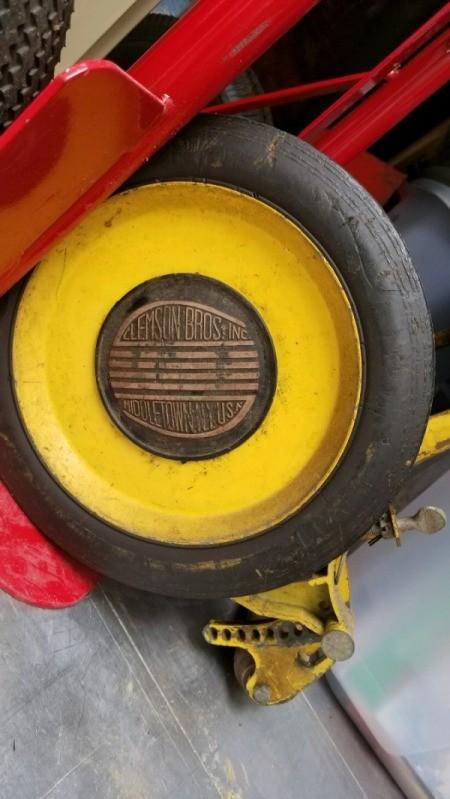 Value of Clemson Bros. Reel Mower - name emblem on wheel
