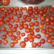 Frozen Small Tomatoes on cookie sheet