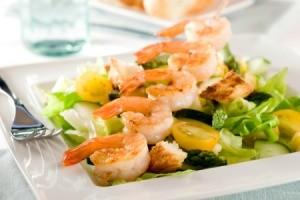 Green Salad with Sauteed Shrimp