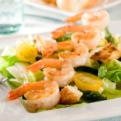 Green Salad with Sauteed Shrimp