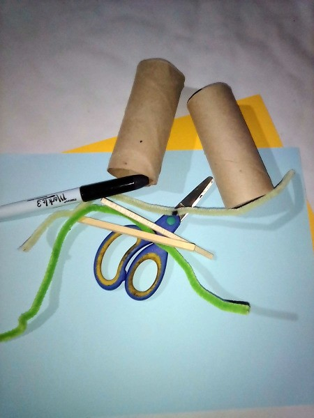 Supplies for making a Ninja Tissue Roll, out of recycled toilet paper tubes.