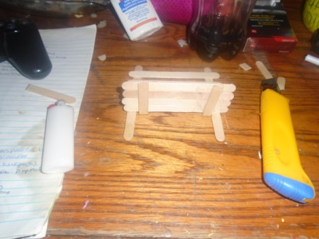 Popsicle Stick Gazebo and Bench - glue the seat to the back of the bench
