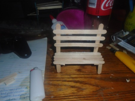 Popsicle Stick Gazebo and Bench - finished bench