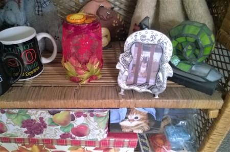 Fall Lacy Jar Decoration - decorated jar on display shelf