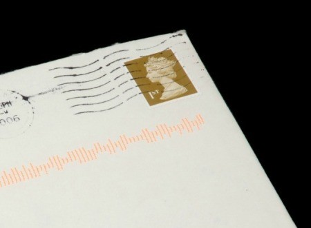 An old post marked envelope with a postage stamp on it.