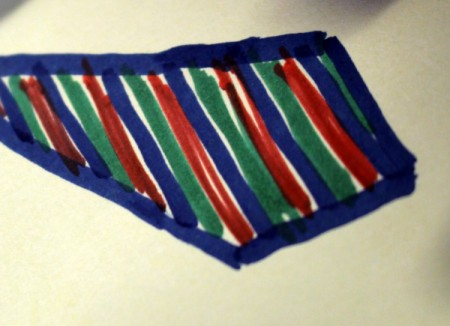 Drawing stripes on the tie.