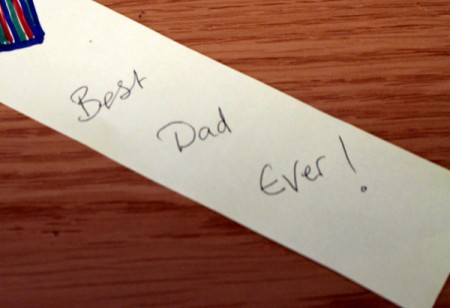 "Writing that says ""Best Dad Ever!"""