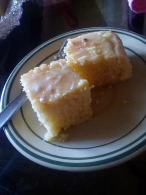 Cream Cheese Sweetheart Cake - Two pieces of cake on a plate.