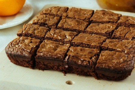 Brownies cut and ready to eat.