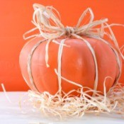 A decorated pumpkin centerpiece.
