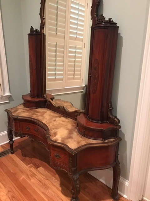 Value of Antique Bedroom Furniture - marble topped mahogany vanity - Finding The Value For Your Antique Furniture ThriftyFun