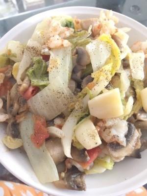 Napa Cabbage Stir Fry on plate