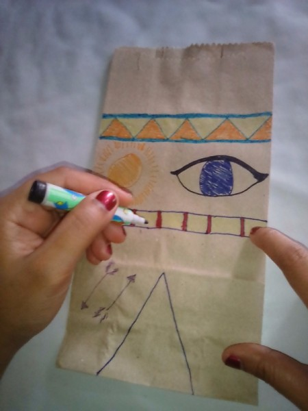 Paper Bag Tent - drawing your design on the bag