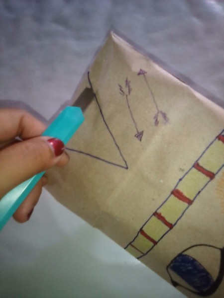 Paper Bag Tent - draw a triangle for the door