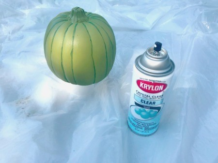 Foam Pumpkin Faux Cactus - spray with clear coat, 3 layers used here