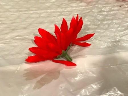 Foam Pumpkin Faux Cactus - remove faux flower from the stem