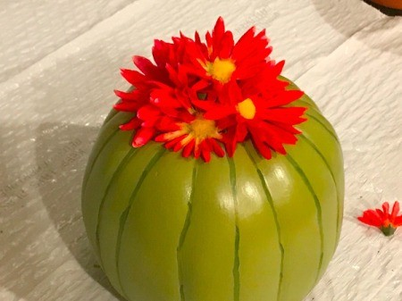 Foam Pumpkin Faux Cactus - glue one flower to the top of the stem