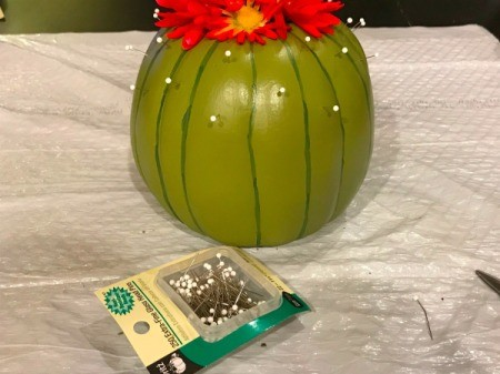 Foam Pumpkin Faux Cactus - pumpkin with package of pins