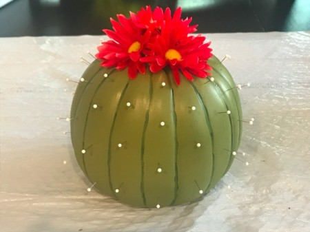 Foam Pumpkin Faux Cactus - work your way around until all of the spines are in place