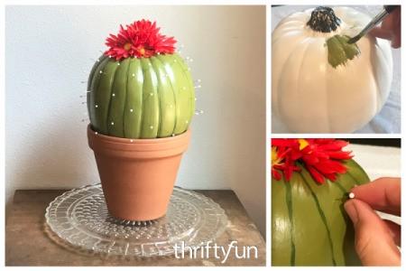 Foam Pumpkin Faux Cactus