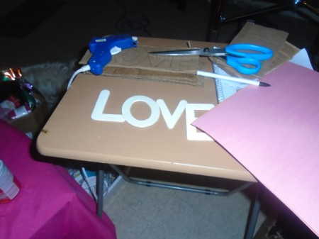 'Love' Cardboard Sign  - supplies