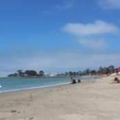Doheny State Beach with surfers and sunbathers.