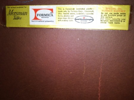 Value and Info on Mersman 30-1 End Tables - label
