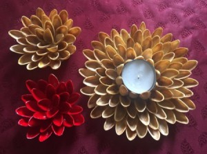 Pistachio Shell Flowers and Candle Holder -  plain candle holder and a red and plain small flower