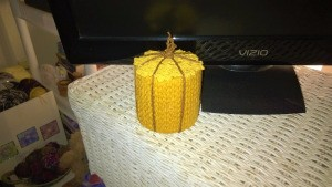 Funky Punky Autumn Decoration - finished pumpkin on a table