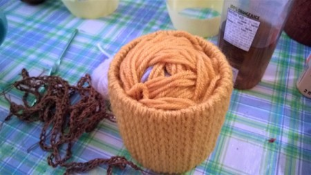 Funky Punky Autumn Decoration - ball of yarn inside the tube