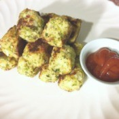 Broccoli Cauliflower Tater Tots on plate with dipping sauce