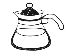 Illustration of a CorningWare style teapot.